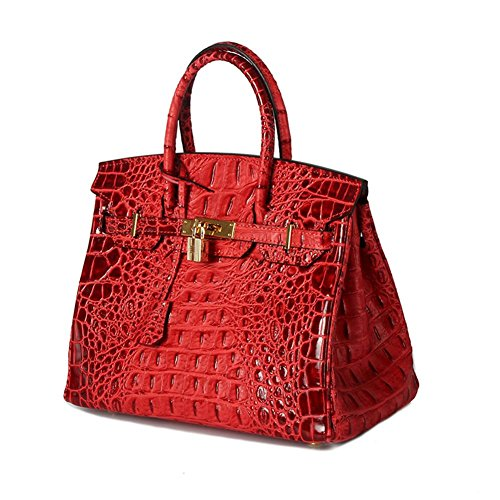 8a711076f4ab Lalagen Women's Crocodile Embossed Genuine Leather Top Handle Padlock  Handbags