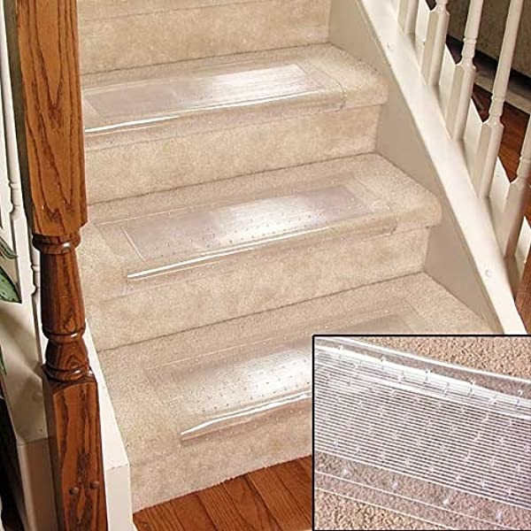 Clear Stair Treads Carpet Protectors Set Of 2 Staircase Step | Carpet For Garage Stairs | Concrete | Stair Riser | Concrete Stairs | Stair Runner | Garage Floor