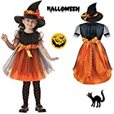 Halloween Clothes Costume Baby Dress Party Dresses and Witch Hat Cool Creative Cute (2-3T) Orange