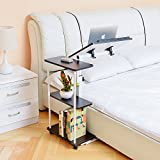 Product review for Unicoo - Multi-Function Height Adjustable Overbed Table, Sofa table, Laptop Cart Black Walnut With White Steel Frame -102