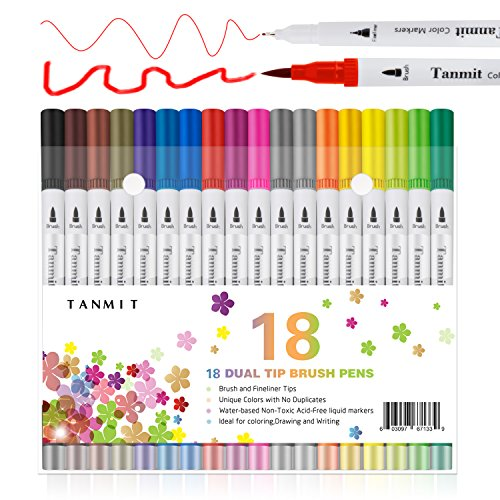 Dual Brush Pens Art Marker Fine Tip, Colored Fine Point Pens Calligraphy Bullet Journal Dual Marker for Adults Coloring Book Writing Drawing Planner Taking Note(18 Colors Art Supplies)