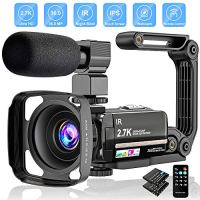 "Video Camera 2.7K Camcorder Ultra HD 36MP Vlogging Camera for YouTube IR Night Vision 3.0"" LCD Touch Screen 16X Digital Zoom Camera Recorder with Microphone Handheld Stabilizer Remote Control"