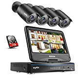 SANNCE 4-Channel FHD 1080P Security Camera System DVR with 10.1' LCD Monitor and (4) 1080P Wired Cameras, Easy Remote Access, Motion Detection, Email Alert,1TB Hard Drive Included