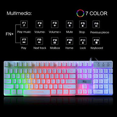 Rii-RK100-White-Gaming-KeyboardUSB-Wired-Multiple-Colors-Rainbow-LED-Backlit-Large-Size-Mechanical-Feeling-Ultra-Slim-Multimedia-Office-Keyboard-Non-Slip-for-Primer-Gaming-and-WorkingOffice-Device