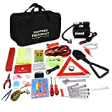 Adakiit Car Emergency Kit, Roadside Assistance 99-in-1 Auto Safety Kit with Jumper Cables,Folding Military Shovel,Air Compressor,Tow Rope,Triangle,Tire Pressure Gauges,Safety Hammer etc.