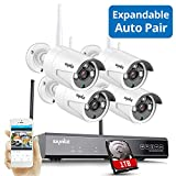 Update Expandable Wireless Security Camera System, SANNCE 1080P 8CH NVR and 4 pcs 960P IP66 Weatherproof Surveillance Cameras,Indoor/Outdoor with 100FT Night Vision, 1TB Hard Drive Included