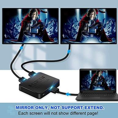 avedio-links-HDMI-Splitter-1-in-2-Out-4K-HDMI-Splitter-for-Dual-Monitors-DuplicateMirror-Only-1x2-HDMI-Splitter-1-to-2-Amplifier-for-Full-HD-1080P-3D-with-HDMI-Cable-1-Source-onto-2-Displays