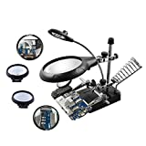 Beileshi 2.5X 7.5X 10X LED Light Helping Hands Magnifier Station, Desktop Magnifier with LED Light Magnifying Glass Stand with Auxiliary Clamp and Alligator Clips