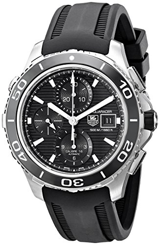 Stainless steel watch with unidirectional bezel featuring black dial with chronograph functions and date window at three o'clock 43 mm stainless steel case with anti-reflective sapphire dial window Swiss-automatic movement with analog display