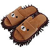 Selric [Bear Image] Super Chenille Microfiber Washable Mop Slippers Shoes for Women, Floor Dust Dirt Hair Cleaner, Multi-sizes & Multi-Colors Available 9 7/9'[Size:5.5-8.5.]