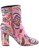 FJ59 Women's Chunky High Heel Floral Embroidery Ankle Booties
