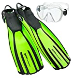 Mares Avanti Quattro Plus Adjustable Strap Fins with Mask, Lime - RG