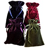"Paper Mart Tarot Rune Bag Bundle of 4: Moss Green, Navy Blue, Purple, Wine 6"" x 9"""