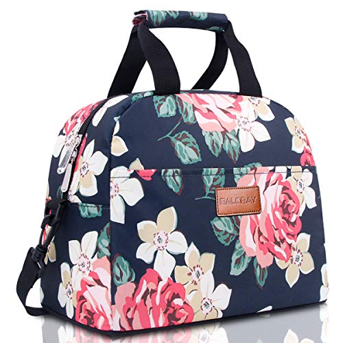 BALORAY Lunch Bag for Women Water-resistant Womens Lunch Bag Lunch Tote Bag Insulated Lunch Bag with Shoulder Strap (G-197L Flower)