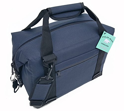 Polar Bear Coolers - Nylon Line - Quality Like No Other from The Brand You Can Trust - See Touch & Feel The Polar Bear Difference - Patent Pending - 12 Pack Navy