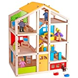 Pidoko Kids Skylar Dollhouse with 20 Pcs Furniture, 5 Dolls and a Pet Dog