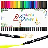 24 Colors Dual Tip Brush Pen Art Markers, Fine Tip Markers & Calligraphy Brush Pens for Journaling, Sketching, Hand Lettering, Coloring Books, Art Suppliers