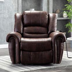 Bonzy Home Air Suede Recliner – Swivel & Glider Recliner Chair – Classic Faux Suede Manual Chair Recliner – Home Theater Seating – Bedroom & Living Room Reclining Chair Sofa (Brown Suede)