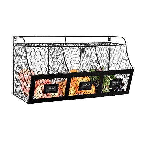 Large Country Rustic Metal Wire Wall Mounted Hanging Fruit Basket Storage Bin w/Chalkboard Labels, Black