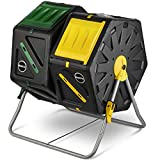 Miracle-Gro Dual Chamber Compost Tumbler – Outdoor Bin with Easy-Turn System, 2 Sliding Doors, Sturdy Steel Frame – All Season Composter, BPA-Free + Free Scotts Gardening Gloves (2 X 18.5gal/70L)