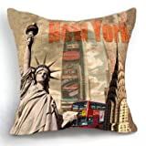 Loool 18 X 18 Inch Cotton Linen Square New York Statue of Liberty Home Decor Decorative Throw Pillow Case Cushion Cover