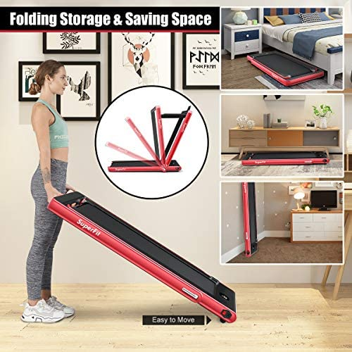 Goplus 2 in 1 Folding Treadmill with Dual Display, 2.25HP Under Desk Electric Pad Treadmill, Installation-Free, Bluetooth Speaker, Remote Control, Walking Jogging Machine for Home/Office Use 4