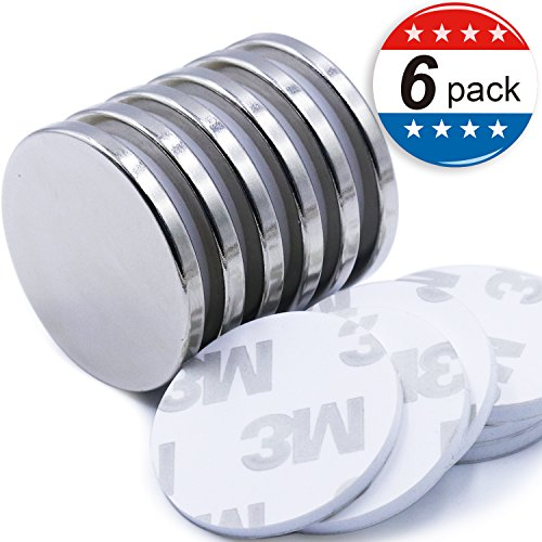 Super Strong Neodymium Disc Magnets with Double-Sided Adhesive, Powerful Permanent Rare Earth Magnets. Fridge, DIY, Building, Scientific, Craft, and Office Magnets, 1.26'D x 1/8'H - Pack of 6