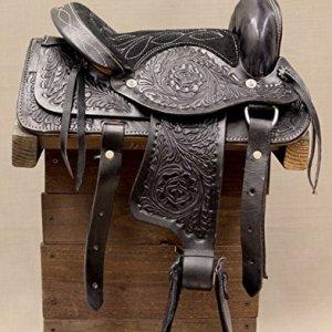 10″ Kids Black Leather Western Mini Pony Saddle