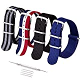 Ritche 4PC 22mm NATO Strap Nylon Watch Band Replacement Watch Bands for Men Women