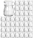 Glass Jars, KAMOTA 40 PACK 6 oz Clear Yogurt Jars With PE Lids, Glass Pudding Jars Yogurt Jars Ideal for Jam, Honey, Wedding Favors, Shower Favors, Baby Foods (200ml)