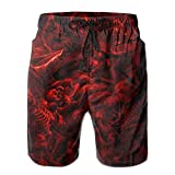 TONICCN Horrible Hell Skeletons Mens Beach Shorts Swim Trunks Quick-Dry Board Shorts with Lining