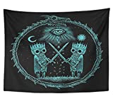 Emvency Tapestry Polyester Fabric Print Home Decor War of Kings Two Skeleton Warring Sword Against The Gods Eye on Ancient Dragon Wall Hanging Tapestry for Living Room Bedroom Dorm 60x80 inches