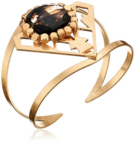 510r0L3KXAL Open bangle bracelet with diamond-shape station featuring geometric cutouts and black simulated agate stone ringed by squared beads Items containing natural stones may have slight variances in size, shape and color Imported