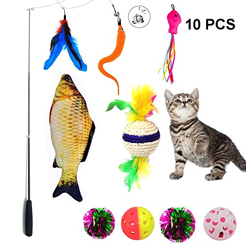 Cat Toys Wand, Puppy Kitten Cat Toy Feather Interactive Teaser 10 Packs Set ,Cat Toy Crinkle Balls and Mint Fish Catnip Toy Balls For Kitty