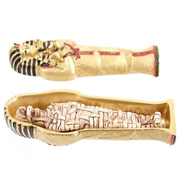 Gold Egyptian Tutankhamen Sarcophagus Trinket Box With Mummy 4
