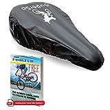 SuperSo Waterproof Bike Seat Rain Elastic Cover + Complimentary Cyclist eBook (1-Pack Black Medium-Narrow)