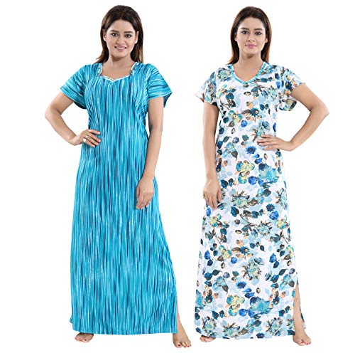 TUCUTE Women Beautiful Print with Invisible Zip + Floral Print Feeding/Maternity/Nursing Nighty/Night Gown/Night Dress/Nightwear (Free Size) (Pack of 2 Pcs) 2