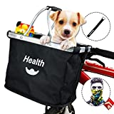 MattiSam Bicycle Basket, Folding Bike Basket Front Handlebar Bag for Cruiser, Women, Dog Carrying | Detachable - 5KG Load Capacity | with Phone Pouch, Aluminum Frame, 600D Water Resistant Oxford Cloth