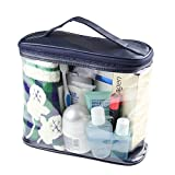 HaloVa Transparent Toiletry Bag, Clear Travel Makeup Pouch Sundry Bag, Cosmetics and Toiletries Organizer Bag with Top Handle for Men and Women, Dark Blue