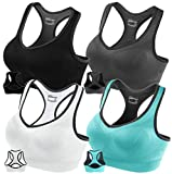 FITTIN Racerback Sports Bras - Padded Seamless High Impact Support for Yoga Gym Workout Fitness with Removable Pads 4 Pack (Black, Grey, White and Blue): Medium
