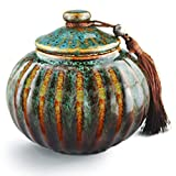 "5.2"" Medium-Sized, Cremation Urn for Ashes - Funeral Urn for Human Ashes Adult - Made in Ceramics & Hand-Painted- Display Burial Urn At Home or in Niche at Columbarium (Orange Blue Fambe Memorials Urn"