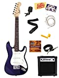 Squier by Fender Mini Strat Electric Guitar Bundle with Amp, Cable, Tuner, Strap, Winder, Picks, Austin Bazaar Instructional DVD, and Polishing Cloth - Blue