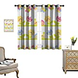 Warm Family Kids Thermal Insulating Blackout Curtain Cartoon Character Bees Tulip and Daisy Flowers Snails Garden Pattern Patterned Drape for Glass Door W55 x L45 Baby Blue Pale Green Yellow