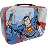WL SS-WL-25554 Superman Flying In Metropolis City Collectible Tin Tote, 10""