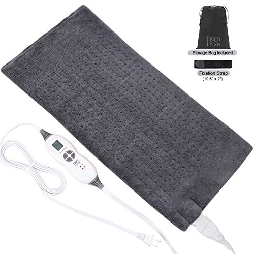 TechLove Extra Large Electric Heating Pad with Fixation Strap For Neck Shoulder and Back Pain Relief King Size 12' x 24' - Charcoal Gray