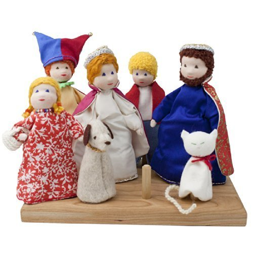 Seven Waldorf Royal Court Finger Puppets with Wooden Stand