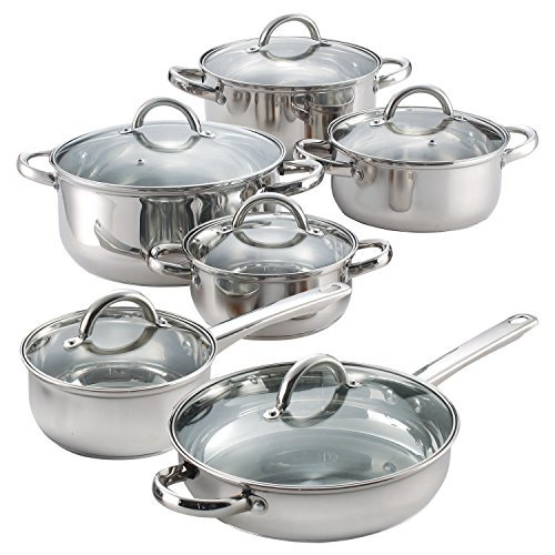 12-Piece-Stainless-Steel-Cookware-Set-Bottoms-are-flat-and-is-rated-for-30-mm-thickness-Glass-lids-have-a-temperature-max-of-350-F-Cookware-set-is-oven-safe-to-500-F