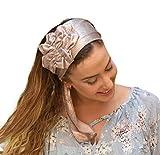 Sara Attali Wrap Headband, Bandana Tichel Hair Covering Headscarf One Size Shiny Light Pink Flower
