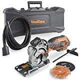 VonHaus 5.8 Amp Compact Circular Saw Kit with Laser Guide, 4,500 RPM and Plunge Function - Includes 3 Saw Blades, Carry Storage Case, Extra Long Power Cable and Extraction Hose