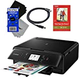 Canon PIXMA TS6020 Wireless All-in-One Compact Inkjet Printer with Print, Scan, Copy (Black) + Set of Ink Tanks + USB Printer Cable + Photo Paper Sample + 2 HeroFiber Gentle Cleaning Cloths